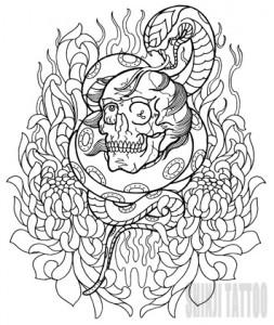 Shinji Tattoo スカルと蛇(スネーク)と菊のタトゥースケッチ
