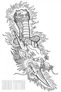 Shinji Tattoo dragon and dagger sketch 41