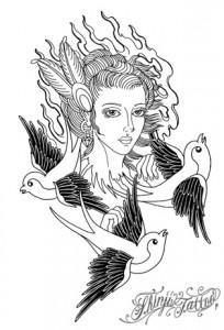 Shinji Tattoo 女性とツバメのタトゥースケッチ