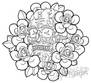 Shinji Tattooのバラとスカルのタトゥースケッチ42