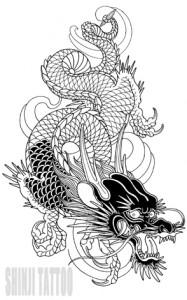 黒い龍のタトゥー スケッチ 44