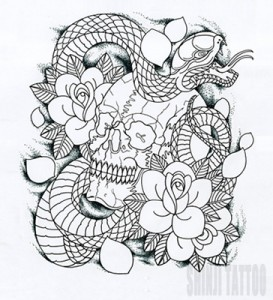 Shinji Tattooのスカルと蛇のタトゥースケッチ 45