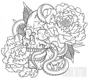 スカルと蛇のタトゥースケッチ 49 Shinji Tattoo