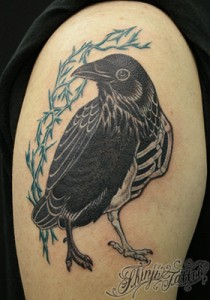 カラスのタトゥー(上腕)スケルトン Shinji Tattoo