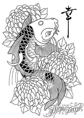 鯉と菊のタトゥースケッチ
