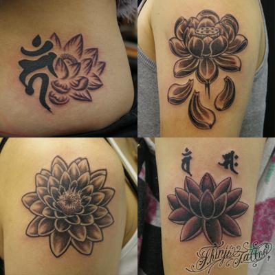 黒色のぼかしで彫った蓮の花のタトゥー